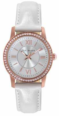 Ted Baker Womens White Leather Strap Silver Dial TE2112