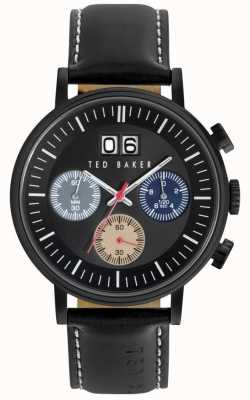 Ted Baker Mens Black Leather Strap Black Dial Chrono TE10023471