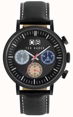 Ted Baker Mens Black Leather Strap Black Dial Chrono TE10023471