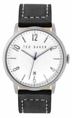 Ted Baker Mens Black Leather Strap White Dial TE1120