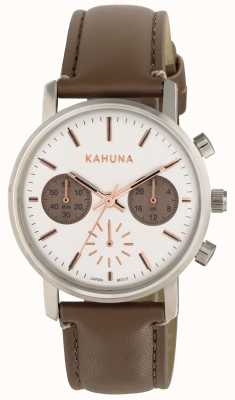 Kahuna Womens Brown Strap White Dial KLS-0318L