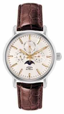 Rotary Mens Les Originales Brown Strap Moon Phase GS90135/32