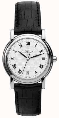 Michel Herbelin Womens Black Leather Strap White Dial 12432/08