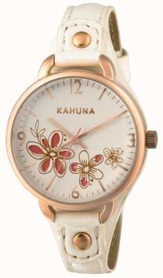Kahuna Womens White Leather Strap White Dial KLS-0312L