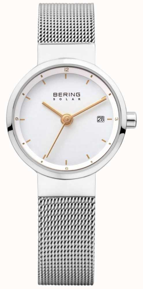bdb14e999d0 Bering Womens Solar Stainless Steel Mesh White Dial 14426-001 ...