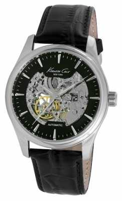 Kenneth Cole Mens Automatic Black Leather Strap KC10027199