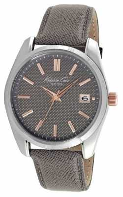 Kenneth Cole Mens Grey Leather Strap Grey Dial KC10024357