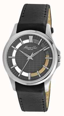 Kenneth Cole Mens Black Leather Strap Black Dial KC10022286