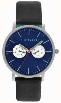 Ted Baker Mens Black Leather Strap Blue Dial TE10024785