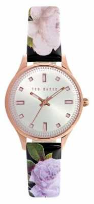 Ted Baker Womens Floral Leather Silver Dial TE10025270