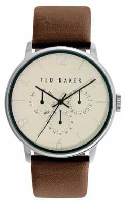Ted Baker Mens Brown Leather Strap Cream Dial TE10023493