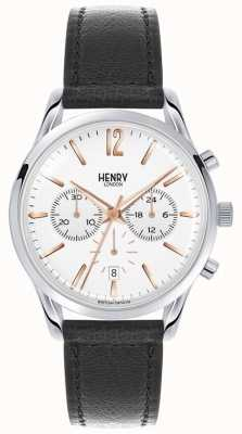 Henry London Unisex Highgate Black Leather White Dial HL39-CS-0009