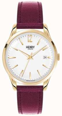 Henry London Unisex Holborn Burgundy Leather White Dial HL39-S-0064