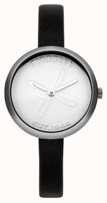 Fiorelli Womens Black Leather Strap White Dial FO007BS