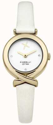Fiorelli Womens White Leather Strap Silver Dial FO009WG