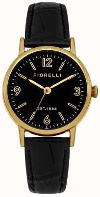 Fiorelli Womens Black Leather Strap Black Dial FO015BG