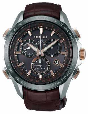 Seiko Mens Astron GPS Brown Leather SSE025J1