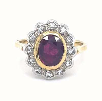 18k Yellow and White Gold Ruby Diamond Ring JM1794