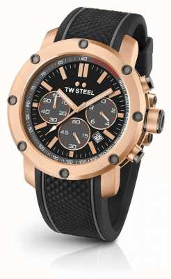 TW Steel Mens Grandeur Tech Black Rubber Strap TS5