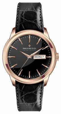 Dreyfuss Mens Black Leather Strap Black Dial DGS00129/04