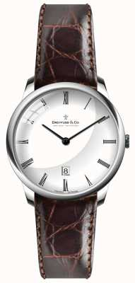 Dreyfuss Mens Brown Leather Strap White Dial DGS00135/01