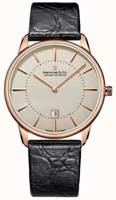 Dreyfuss Gents Black Leather strap | Rose gold case | DGS00139/46