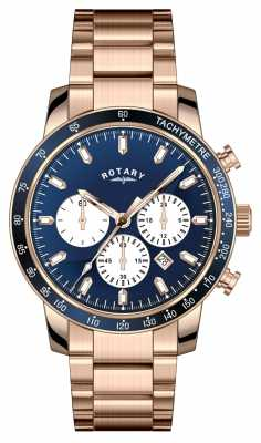 Rotary Gents Rose Gold Blue Dial Manager's Special GB00355/05