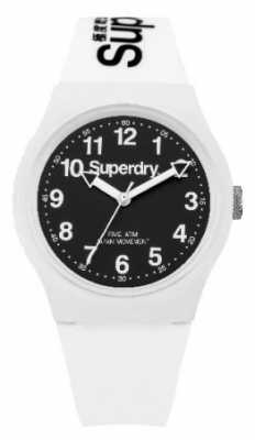 Superdry Unisex Urban White Rubber Strap Black Dial SYG164W