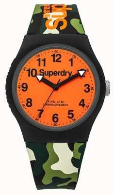 Superdry Unisex Urban Camo Rubber Strap Orange Dial SYG164NO