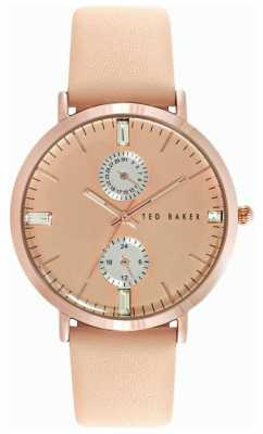 Ted Baker Womens Tan Leather Strap Rose Gold Dial TE10024716