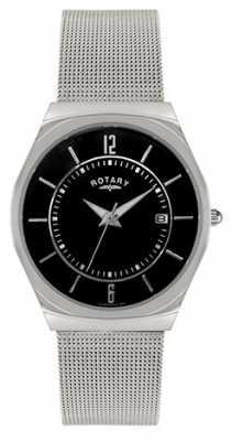 Rotary Mens Stainless Steel Mesh Bracelet Black Dial GB00033/19