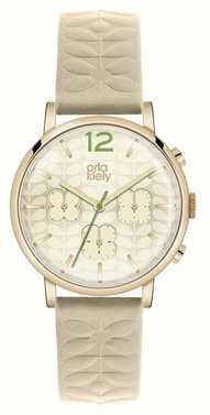 Orla Kiely Chronograph Nude Strap Gold PVD Case OK2000