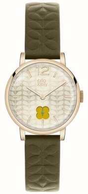 Orla Kiely Olive Green Strap Gold PVD Case OK2006