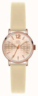 Orla Kiely Cream Strap Rose Gold PVD Case OK2012