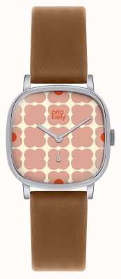 Orla Kiely Iris Brown Leather Strap OK2023