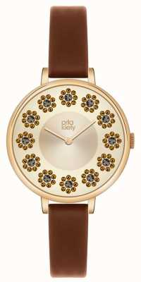 Orla Kiely Ivy Stones Brown Leather Strap OK2084
