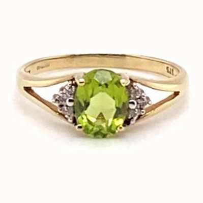 9k Yellow Gold Diamond Peridot Ring JM4866