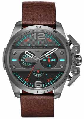 Diesel Mens Ironside Brown Leather Chronograph DZ4387