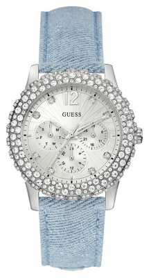 Guess Womens Dazzler Blue Denim Strap Silver Dial W0336L7