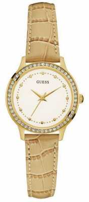 Guess Womens Chelsea Leather Strap White Dial W0648L3
