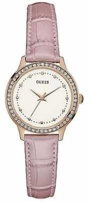 Guess Womens Chelsea Leather Strap White Dial W0648L4