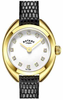Rotary Womens Black Leather Strap Gold Plated Case LS05015/01