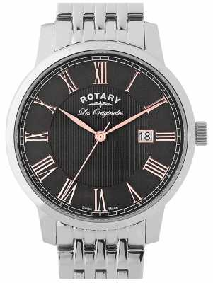 Rotary Mens Stainless Steel Strap Black Dial GB90075/04
