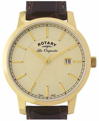 Rotary Mens Borwn Leather Strap Champagne Dial GS90076/03