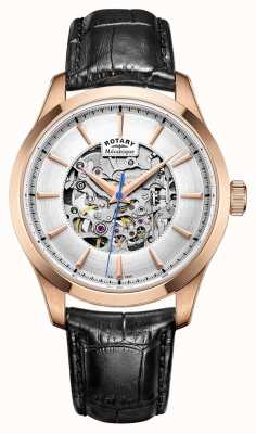 Rotary Mens Leather Strap Rose Gold Plated Case GS05036/06