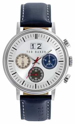 Ted Baker Mens Blue Leather Strap Chronograph TE10023470
