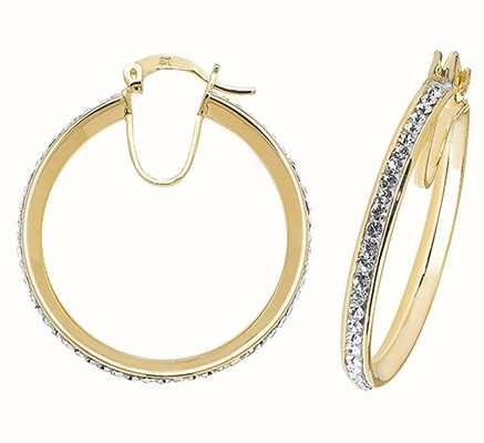 Treasure House 9k Yellow Gold Crystal Hoop Earrings 25 mm ER973-25
