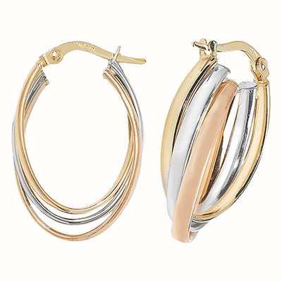 Treasure House 9k Tri Colour Gold Oval Hoop Earrings ER1002