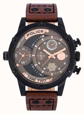 Police Brown Leather Strap Brown Black Dial 14536JSB/12A