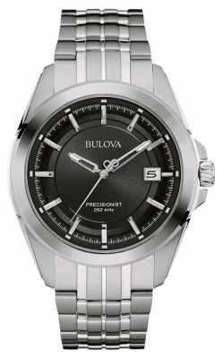 Bulova Mens Stainless Steel Silver Strap Black Dial 96B252